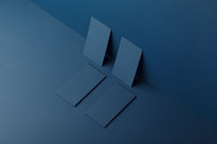 Mockups cards for branding. Mocap cards for branding on a blue background Stock Photo