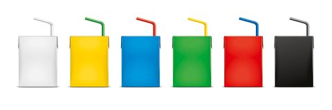 Mockups for carton packaging drinks. Version. stock photography