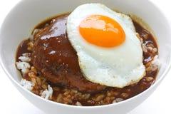 Moco del loco, plato hawaiano del tazón de fuente de arroz Fotografía de archivo libre de regalías