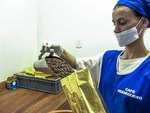 Coffee roaster production line of the Pessegueiro Farm in Mococa. Mococa, Sao Paulo Brazil. April 01, 2005. Coffee roaster production line of the Pessegueiro stock images