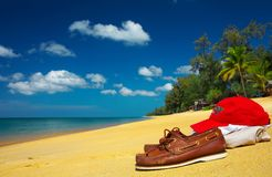 mocs on the beach Stock Photo
