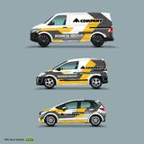 Mocup set with advertisement on White Car, Cargo Van, and delivery Van. Vector Graphics template Mock Up stock illustration