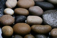 Moczę barwił kamienia tło, ciemni otoczaki Fotografia Stock