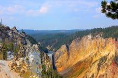 Moczy ściany Uroczysty jar Yellowstone Tworzył Yellowstone rzeką Obrazy Stock