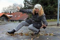 Moczy ulicy i gładzi może prowadzić wypadki Fotografia Royalty Free