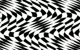Modèle à carreaux noir et blanc abstrait avec l'effet de déformation Photos libres de droits