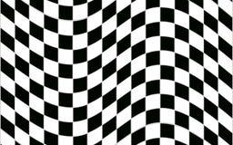 Modèle à carreaux noir et blanc abstrait avec l'effet de déformation Image stock
