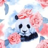 Modèle à la mode d'aquarelle avec les roses et le panda Image libre de droits