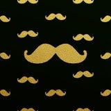 Modèle éclatant de moustache d'or Illustration Stock