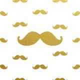 Modèle éclatant de moustache d'or Illustration Libre de Droits