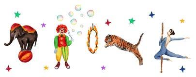 Modèle, éléphant, clown, tigre et acrobate horizontaux de cirque Illustration d'aquarelle sur le blanc illustration stock