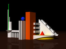 Modèle 3d architectural Images libres de droits