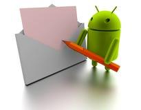 Modèle 3d et message androïdes Photographie stock libre de droits