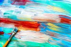 Modèle abstrait avec les peintures à l'huile multicolores avec la texture de brosses Photo libre de droits