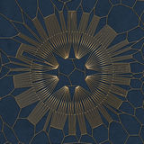 Modèle abstrait d'or sur le fond bleu rendu 3d Images stock