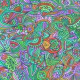 Modèle abstrait floral de griffonnage psychédélique Vecteur tiré par la main Photos stock