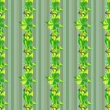 Modèle abstrait vert sans couture avec des oiseaux et des feuilles Illustration de vecteur Image libre de droits
