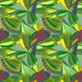 Modèle abstrait vert sans couture avec des oiseaux et des feuilles Illustration de vecteur Photographie stock