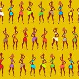 Modèle africain, un modèle gai avec des personnes Femme multicolore sur un fond jaune illustration libre de droits