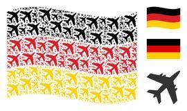 Modèle allemand de ondulation de drapeau de Jet Plane Icons Illustration de Vecteur
