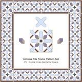 Modèle antique set_312 Crystal Cross Geometry Square de cadre de tuile illustration stock