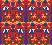 Modèle arabe de rouge orange de fleur de mosaica images stock