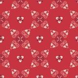 Modèle arabe sans couture de vecteur avec les éléments arrondis Fond rouge de modèle Texture de tissu illustration libre de droits
