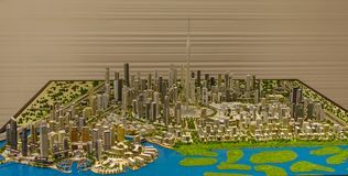 Modèle architectural de Dubaï en centre ville photos stock