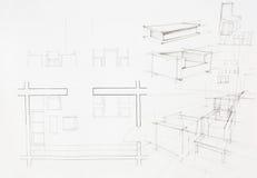 Modèle architectural de secteur dinning illustration stock