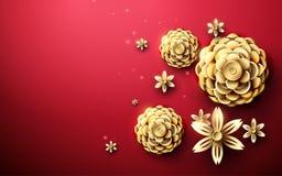 Modèle asiatique de fleurs abstraites d'or à l'arrière-plan rouge vecteur d'illustration Images libres de droits