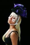Modèle asiatique de mode en fleurs Images stock