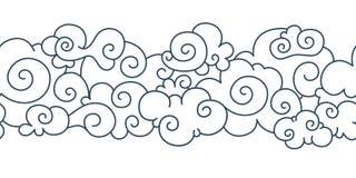Modèle asiatique de nuage Éléments tibétains tirés par la main d'ornement de ciel de frontière orientale japonaise chinoise Boucl illustration libre de droits