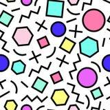 Modèle au néon abstrait géométrique sans couture de vecteur Memphis Style, 80s Image libre de droits