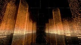 Modèle au néon lumineux de ville numérique abstraite dans le blanc, l'or et les couleurs oranges et le vol rapide de caméra par l illustration stock