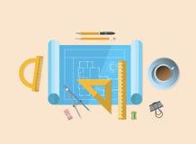 Modèle avec de divers outils d'architecture illustration libre de droits