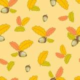 Modèle avec de petites feuilles de chêne et acorns-01 Photo stock