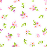 Modèle avec de petites fleurs roses Images stock