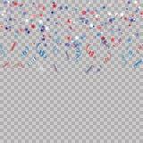 Modèle avec des étoiles et confetty pour la célébration de Memorial Day sur le fond transparent Fond élégant d'étoile de couleur  Photographie stock libre de droits