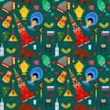 Modèle avec des attributs russes traditionnels illustration de vecteur