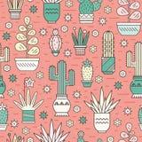 Modèle avec des cactus illustration stock