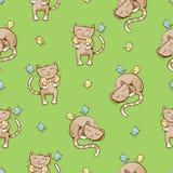 Modèle avec des chats Photographie stock libre de droits