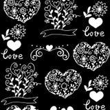 Modèle avec des coeurs, fleurs Photo stock
