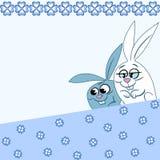 Modèle avec des lapins de bande dessinée Photographie stock