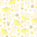 Modèle avec des lapins et des fleurs Images stock