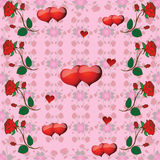 Modèle avec des roses et des coeurs illustration de vecteur