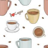 Modèle avec des tasses de différentes tailles et formes et avec des grains de café Illustration de vecteur dans le style de croqu Images libres de droits