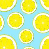 Modèle avec des tranches de citron sur un fond bleu Photographie stock libre de droits