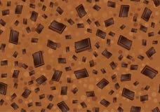 Modèle avec du chocolat morceaux de chocolat sur le fond brun Textur sans couture Image libre de droits