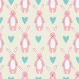 Modèle avec l'animal rose drôle mignon de harer illustration stock
