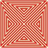 Modèle avec l'ornement géométrique symétrique Fond abstrait blanc rouge rayé Papier peint de triangles répété par résumé illustration de vecteur